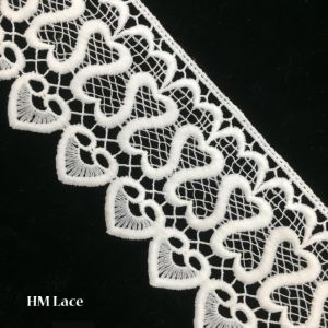 8cm Beautiful White Corded Trim Lace with Mesh Net and Heart Fringe Hmw6261 pictures & photos