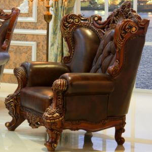 Wood Leather Sofa Chair for Living Room Furniture (513A) pictures & photos