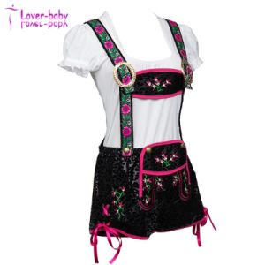 German Bavarian Lange Embroidered Black Mini Ladies Lederhosen L1210 pictures & photos