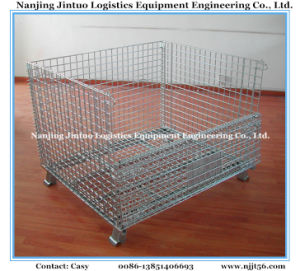 Folding & Stackable Wire Container, Wire Mesh Pallet Bin with Wheels for Warehouse Storage pictures & photos