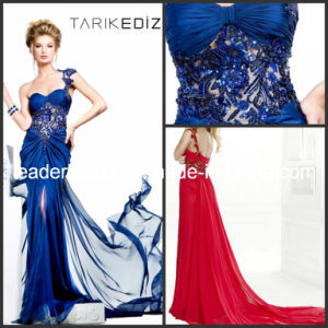 Sheath One-Shoulder Court Train Beaded Crystal Applique Chiffon Formal Dresses Rz45 pictures & photos