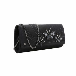 Black Crystal Butterfly Decorated Clutch Bag (MBNO041161) pictures & photos