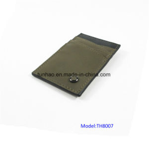 Olive 4 Slots Slim PU Leather Clip Cardholder