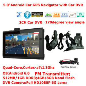 New 2g/3G Car Portablet Android 6.0 Quad-Core Tablet PCS GPS Navigator with Full HD1080p Car DVR, 2CH Video Recorder; FM Transmitter; AV-in for Parking Camera pictures & photos