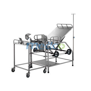 Hot! ! Manual Hospital Gynecological Operations Parturition Delivery Bed with Wheel Control pictures & photos