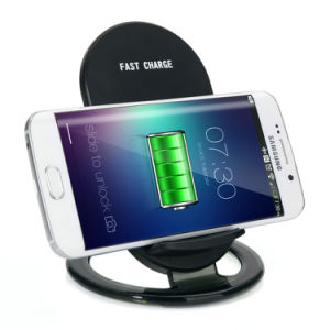 9V 1A Qi Standard 2 Coils Stand Wireless Charging Pad pictures & photos