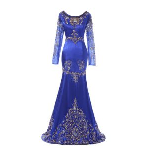 Europe Navy Blue Color Splice Sexy Patterns of Long Lace Evening Dress pictures & photos