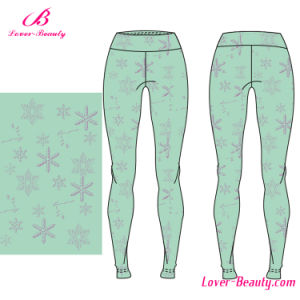 Essentials Soft Snowflake Print Polyester Spandex Sportwear Yoga Leggings pictures & photos