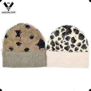 Fashion Winter Feather Yarn Jacquard Knit Custom Design Hat pictures & photos