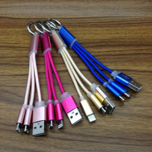 Wholesale Price 2 in 1 Keychain Nylon Braided USB Cable pictures & photos