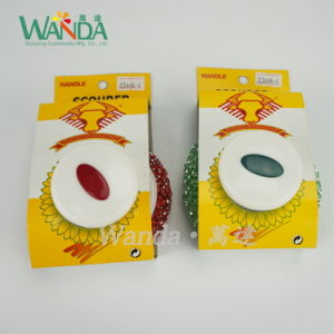Colorful Kitchen Plastic Cleaning Mesh Scourer with Handle pictures & photos