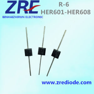 6A Her601 Thru Her608 High Efficiency Rectifier Diode R-6 Package pictures & photos