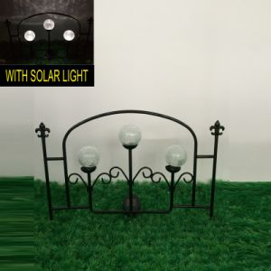 Double Glass Ball Solar Lighted Metal Garden Fence Craft pictures & photos