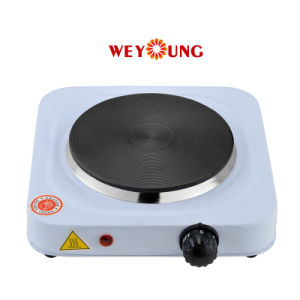 Single Cooking Hotplate Iron Steel with Thermostat Control 1000W Ce Approval
