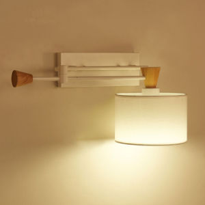White Adjustable Swing Hotel Bedside Modern Wall Lamp Light with Fabric Shade pictures & photos
