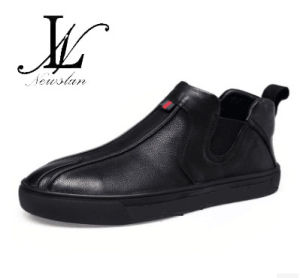 High Top Black Leather Casual Sports Shoes (CAS-052)