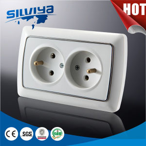 2 Gang 2 Way French Wall Socket pictures & photos