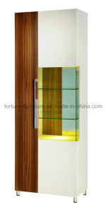 Wooden Walnut Display Cabinet with Glass Decaration (B301-A)
