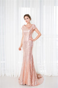 Champagne Evening Gown Sequins Short Sleeves Party Dresses Z5035 pictures & photos
