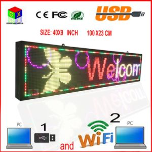 P6 Indoor Full-Color RGB LED Sign Wireless and USB Programmable Rolling Information 40X9 Inch LED Display pictures & photos