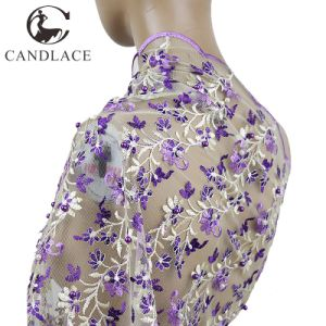 Purple Lace Fabric Embroidery Stone for Lady Dress pictures & photos