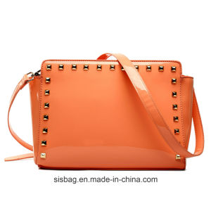 Womens Mirro PU Patent Bag Studded Cross Body Bag Shoulder Bag pictures & photos