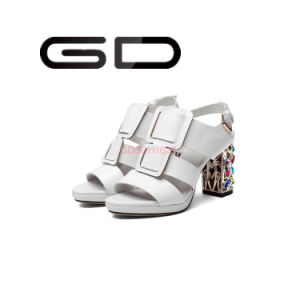 Summer Popular Open-Toe Genuine Leather Cement Thick Heel Sandals for Girls pictures & photos