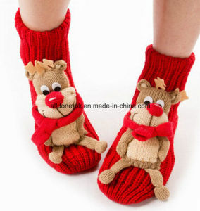 Women Ladies Hand-Knitted Hand Knitted Acrylic Cartoon Gripper Floor Socks pictures & photos