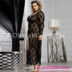 New Arrival Plus Size Lingerie Black Gown for Fat Women Lace Babydoll pictures & photos
