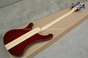 Hanhai 4 Strings Wine Red Electric Bass with Neck-Through Body pictures & photos
