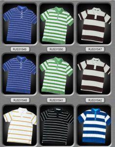 Kids Wear Strip Cotton Print Polo Shirt for Boy