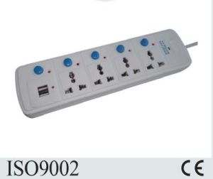 CE Approved UK Standard 4 Way Extension Socket with Double USB pictures & photos