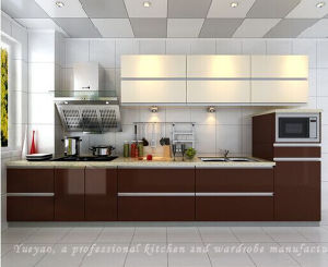 Linear High Glossy Lacquer Wood Kitchen Cabinet (S041)