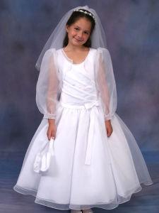 Long Tulle Sleeves Little Girl Dress Flower Girl Skirt UF1018s