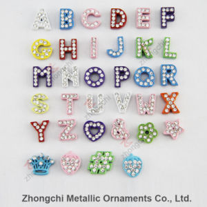 8mm Colorful Rhinestone Slide Alphabet Charm for DIY Jewelry pictures & photos