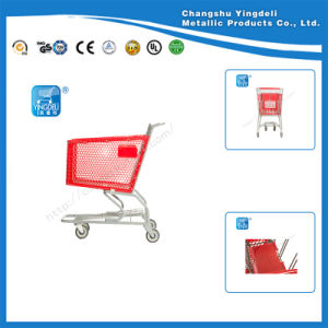 Red High Quality Shopping Cart Trolley Shopping Hand Cart on Hot Sale for Supermarket
