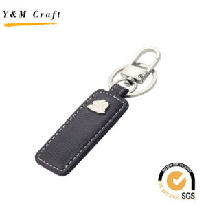 Custom Blank Car Logo Leather and Metal Key Chain (Y03199) pictures & photos