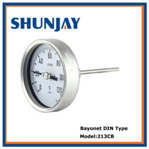 Bimetal Bayonet DIN Type Thermometer for Back Connection
