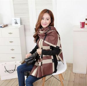 Lady Fashion Acrylic Woven Fringed Jacquard Shawl (YKY4434) pictures & photos