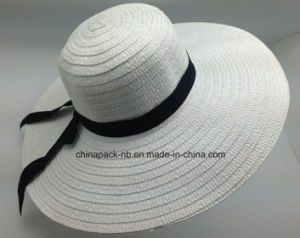 Promotional White Paper Straw Big Brim Beach Hats for Lady (CPA_90056) pictures & photos