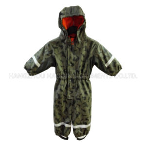 PU Hooded Reflective Siamese Clothing for Baby/Children pictures & photos