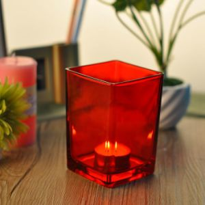 Red Color Square Glass Candle Holder pictures & photos