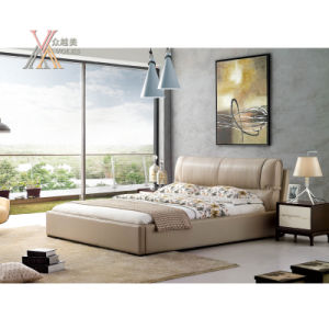 Top Grain Leather Bed for Bedroom (2102+62) pictures & photos