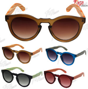 2016 Hot Sale Good Quality Plastic Sunglasses with Colorful Bamboo Temple