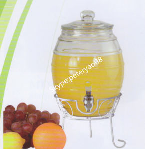 5L Glass Beverage Dispenser with Glass Lid and Iron Stand Glass Jar pictures & photos