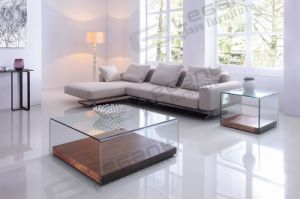 Bent Glass Coffee Table with Movable Panel Bottom pictures & photos