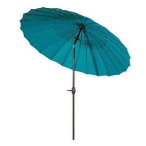 8.5′ Round Parasol Patio Umbrella (with Push Button Tilt and Crank, 24 Steel Wire Ribs, UV Resistant Fabric, Turquoise)