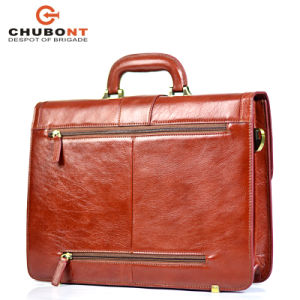 "Chubont High Qualilty Cow Leather Mens 15"" Business Briefcase pictures & photos"