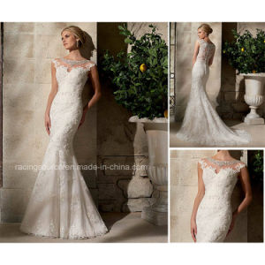 Cap Sleeve Mermaid Bridal Gown Boat Neckline Lace Wedding Dresses pictures & photos