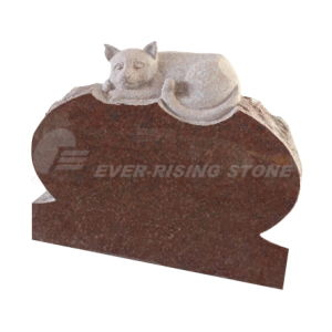 India Red Granite Tombstone Animal Carving (EMA-026)